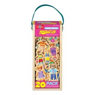 Teddy Bear Wooden Magnets 20 Piece MagnaFun Set