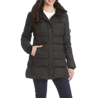 S13 Women's Black Down, Nylon Quilted Faux Fur Trim Collar Coat