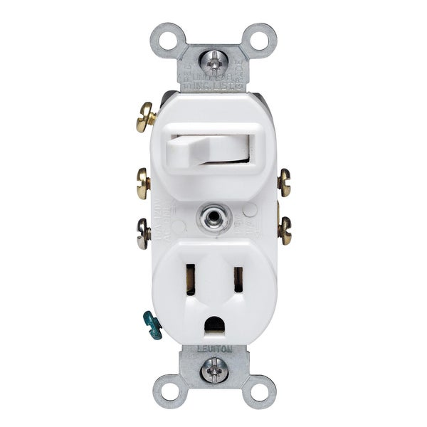 Leviton 032-05245-00W 120 Volt White 3-Way Combination Switch With ...