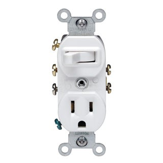 Leviton 032-05245-00W 120 Volt White 3-Way Combination Switch With Receptacle