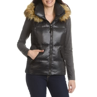 S13 Women's Black Down, Nylon Quilted Faux Fur Trim Hood Vest