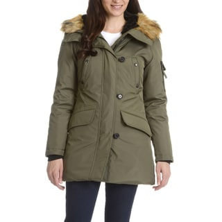 Women's S13 Green Down Nylon and Polyester Faux-fur Anorak