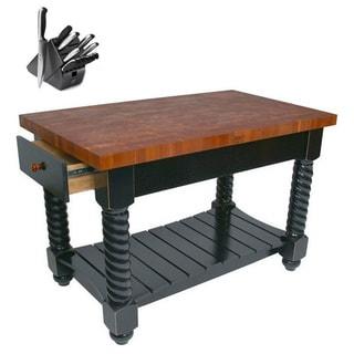 John Boos CHY-TUSI5432225EG Cherry Tuscan Isle Butcher Block Table 54x32 with Bonus Henckels 13-piece Knife Set