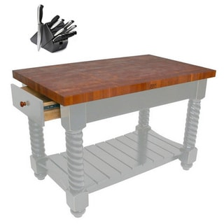 John Boos 54x32 Cherry Tuscan Isle Butcher Block Grey Table CHY-TUSI5432225EG with Bonus Henckels 13-piece Knife Set