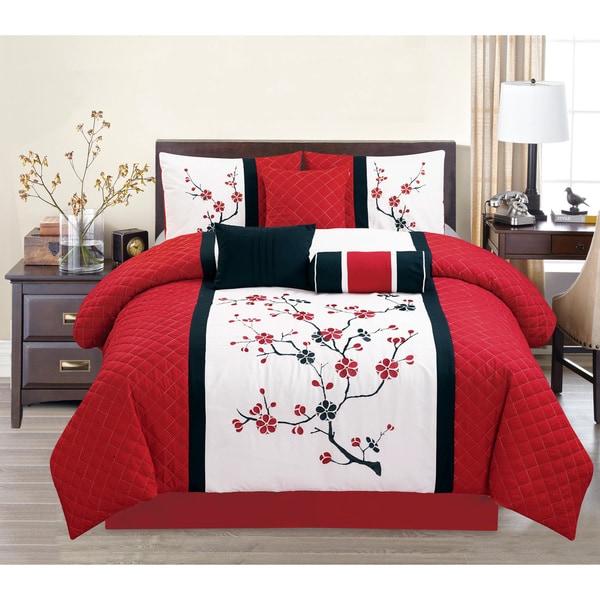 Sakura Red Embroidery 7-piece Comforter Set