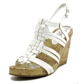 Unlisted Kenneth Cole Women's Work Group White Faux Leather Wedge Sandals