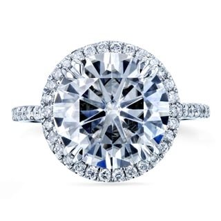 Annello by Kobelli 14k White Gold 4 3/4ct Round Moissanite (FG) and 2/5ct TDW Diamond Halo Statement Engagement Ring
