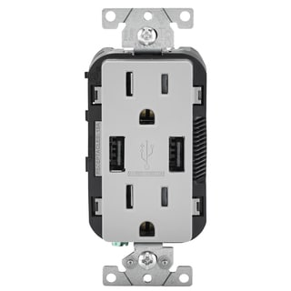 Leviton 004-T5632-0GY 15 Amp Gray USB Charger/Tamper-Resistant Duplex Receptacle