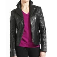 Ladies' Black Lambskin, Leather Zip Front Blazer Jacket