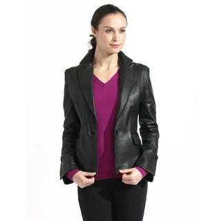 Women's Lambskin Leather Blazer Jacket (Option: Brown)