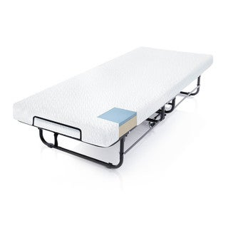 Structures Steel Rollaway Folding Guest Bed with 4-inch Gel Memory Foam Mattress