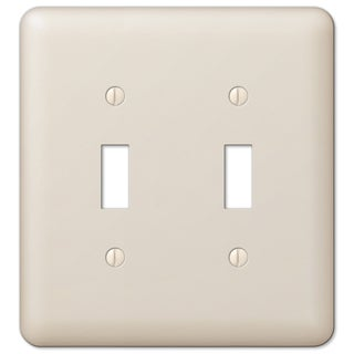 Amertac 935TTAL 2 Toggle Colours Almond Steel Wallplate