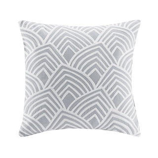 Madison Park Embroidered Scallop Grey Square Throw Pillow