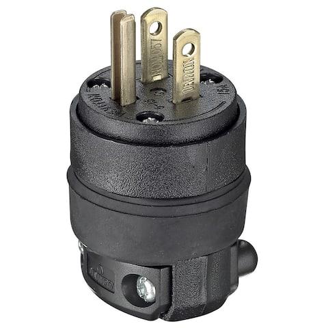 Leviton 000-515PR 15 Amp Black Heavy Duty Straight Blade Rubber Plug