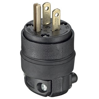 Leviton 000-515PR 15 Amp Black Heavy Duty Straight Blade Rubber Plug