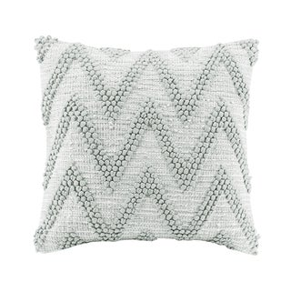 Madison Park Chevron Handloom Grey Square Throw Pillow