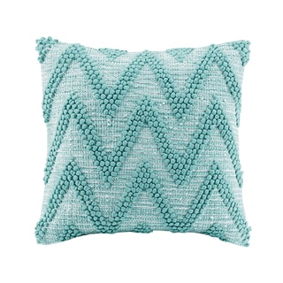 Madison Park Chevron Handloom Aqua Square Throw Pillow