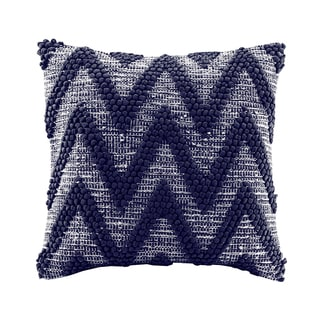 Madison Park Chevron Handloom Navy Square Throw Pillow