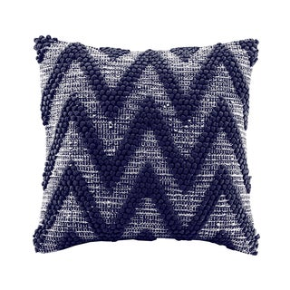 Madison Park Chevron Woven Handloom Navy Square Throw Pillow