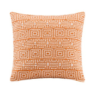 Madison Park Geometric Handloom Orange Square Throw Pillow