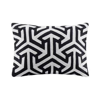Madison Park Crewel Embroidered Geo Charcoal Cotton Oblong Throw Pillow