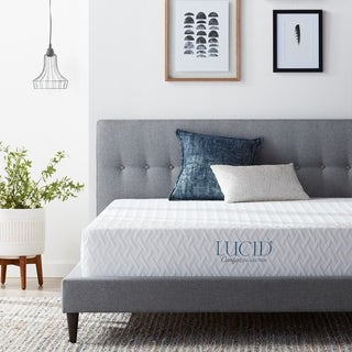 LUCID 10-inch Queen-size Plush Gel Memory Foam Antimicrobial Mattress