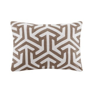 Madison Park Crewel Embroidered Geo Tan Cotton Oblong Throw Pillow
