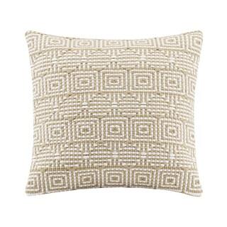 Madison Park Geometric Woven Tan Square Pillow