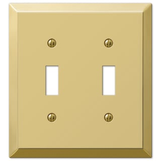 Amertac 163TTBR 2 Toggle Polished Brass Steel Wallplate