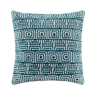 Madison Park Geometric Handloom Teal Square Throw Pillow