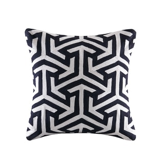 Madison Park Crewel Embroidered Geo Charcoal Cotton Square Throw Pillow