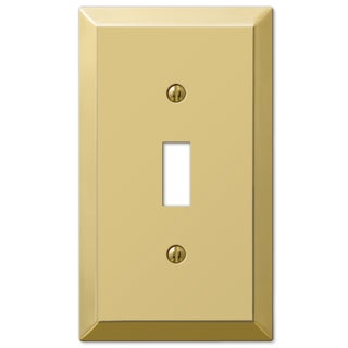 Amertac 163TBR 1 Toggle Bright Brass Steel Wallplate