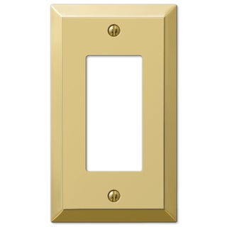 Amertac 163RBR 1 Rocker Polished Brass Traditional Steel Wallplate