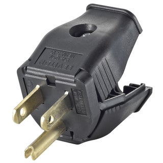 Leviton 000-3W101-00E 2 Pole 3 Wire Black Grounding Plug