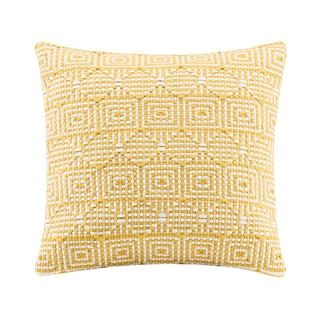 Madison Park Geo Handloom Yellow Square Throw Pillow