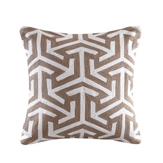 Madison Park Crewel Embroidered Geo Tan Cotton Square Throw Pillow