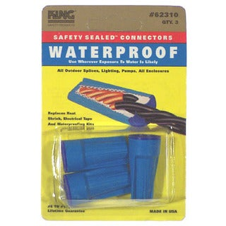 King Safety Products 62310 Blue Waterproof Wire Connectors 3-count