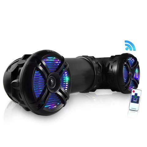 Waterproof Marine Bluetooth-powered 6.5-inch Built-in Programmable Multi-color LED Light 800-watt Speakers