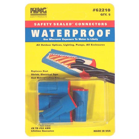King Safety Products 62210 Blue & Red Waterproof Wire Connectors 5-count