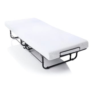 LUCID Metal Rollaway Guest Bed with 4-inch Memory Foam Mattress