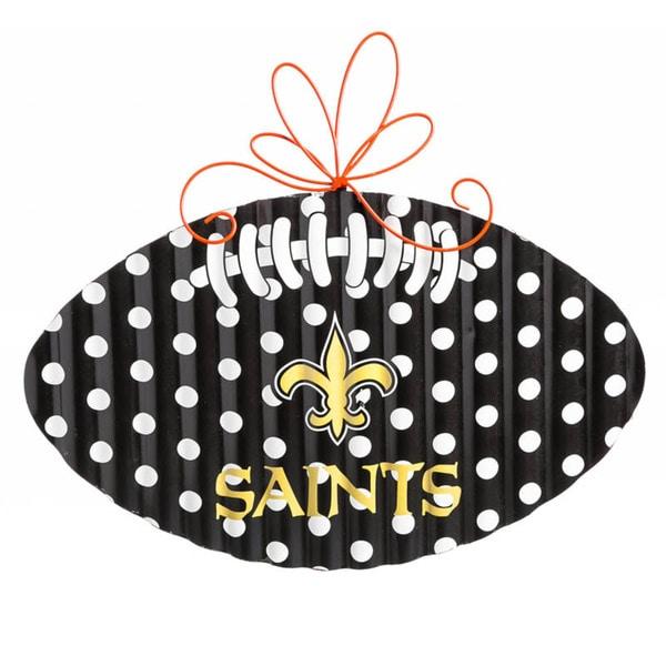New Orleans Saints Polka Dot Metal Football Door Decor