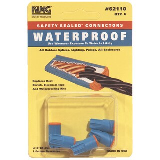 King Safety Products 62110 Blue & Orange Waterproof Wire Connectors 6-count