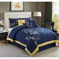 Violet Navy Embroidery 7-piece Comforter Set