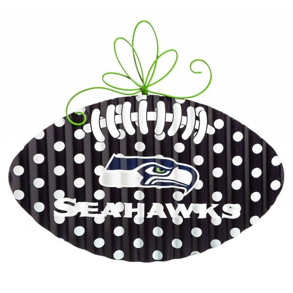 Seattle Seahawks Metal 17.8-inch x 20-inch Football Door Decor