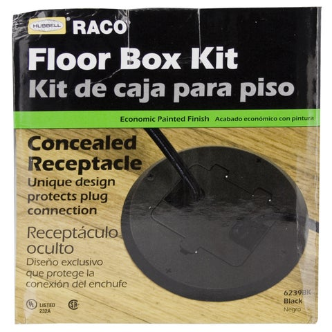 Hubbell Raco 6239BK Black Concealed Receptacle Floor Box Kit