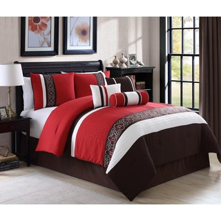 Amberlyn Red Embroidery 7-piece Comforter Set