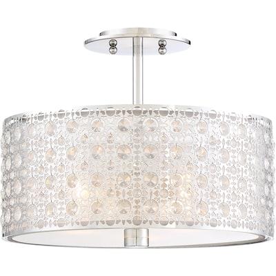 Quoizel Platinum Collection Verity Polished Chrome Crystal 3-light Flush Mount - Silver