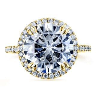 Annello by Kobelli 14k Yellow Gold 5 1/5ct TGW Round Moissanite and Diamond Halo Statement Engagement Ring (FG/VS, GH/I) (More options available)