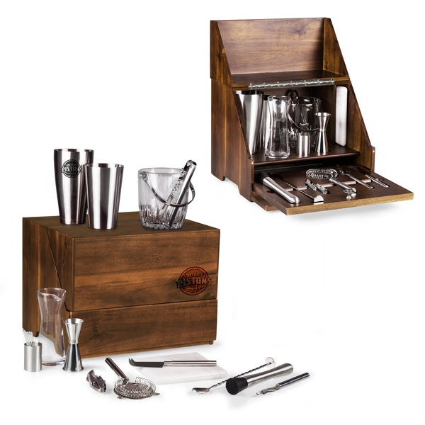 Picnic Time Madison Detroit Pistons Acacia Wood Table-top Bar