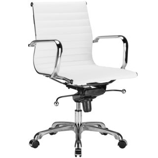 White Vegan Leather Ribbed Mid-back Chair